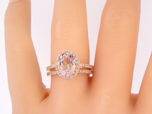 14K Rose Gold Diamond Oval Shape Morganite Halo Wedding Set Engagement Ring Promise Classic Solitaire Yellow White