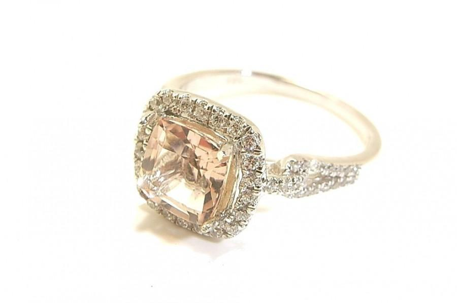 Wedding - Morganite and Diamond engagement ring -14K solid White, Rose or Yellow gold options