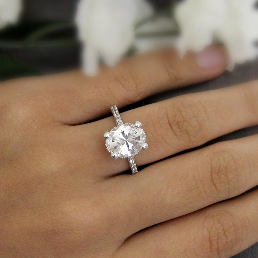 diamond wedding white band halo shank moissanite stacking rings split carat engagement oval gold ring