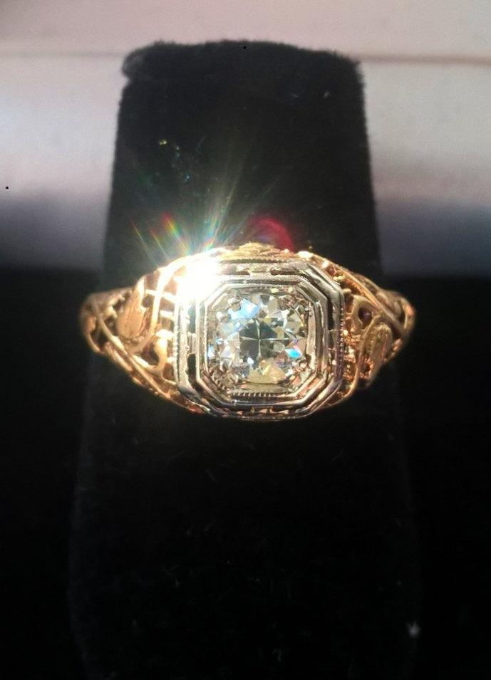 Wedding - Ornate Art Nouveau Filigree 1920s Vintage Estate Old European Cut  Diamond Engagement Promise Right Hand Ring! 14K Yellow White Gold!