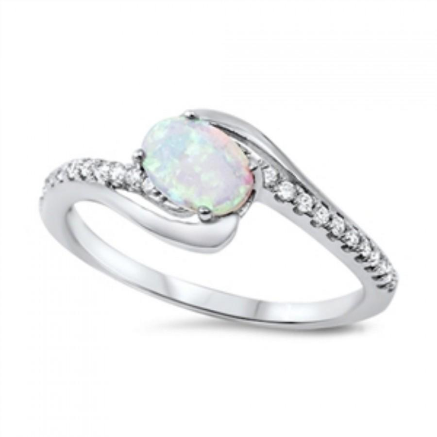 Wedding - Oval Cut White Opal Ring Solid 925 Sterling Silver Round Clear Diamond CZ Solitaire Accent Wedding Engagement Ring 1.00 Oval Lab White Opal