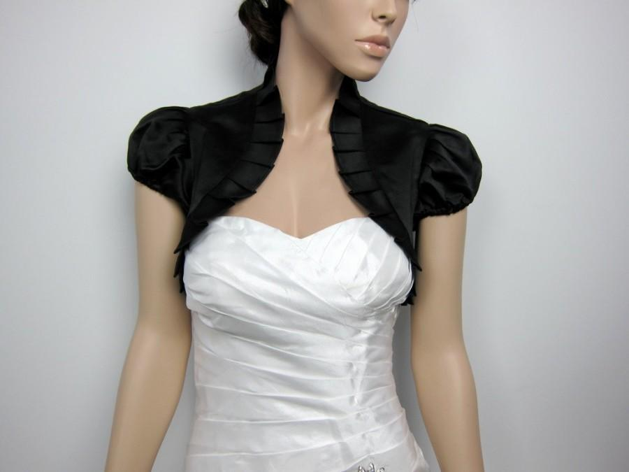 Свадьба - Black short sleeve satin wedding bolero jacket shrug