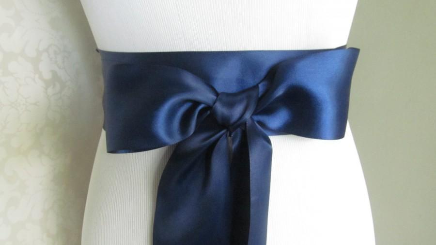 Свадьба - Navy Blue Bridal Sash / Double Face Sash  Ribbon /  Ribbon Sash /  DIY sash / 12 ft sash / 9ft sash / 6 ft sash