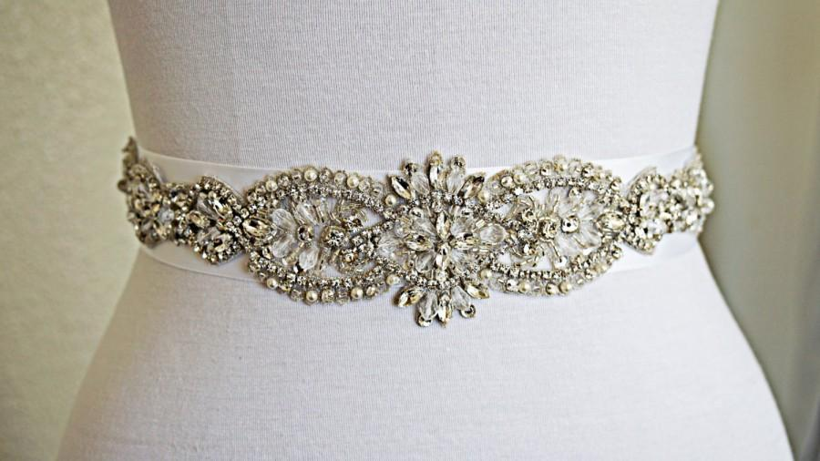 Свадьба - SILVER Wedding Belt Sash, Customizable, Every Color of Ribbon, Bridal Belt, Bridal Sash, Crystal Rhinestone Sash, Satin Sash