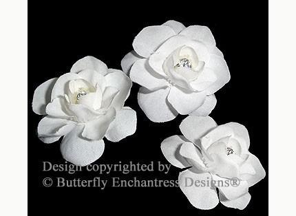 Свадьба - Wedding Hair Accessories, Bridal White Hair Flowers, Bridal Hair Pins - Rhinestone Centers