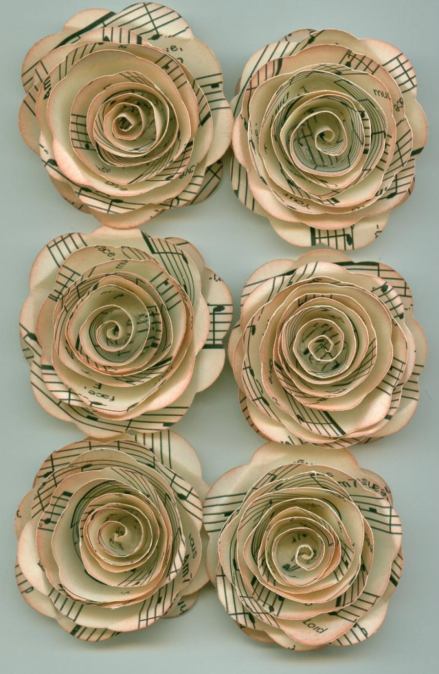 Antique Music Sheet Handmade Large Spiral Paper Flowers 2446745