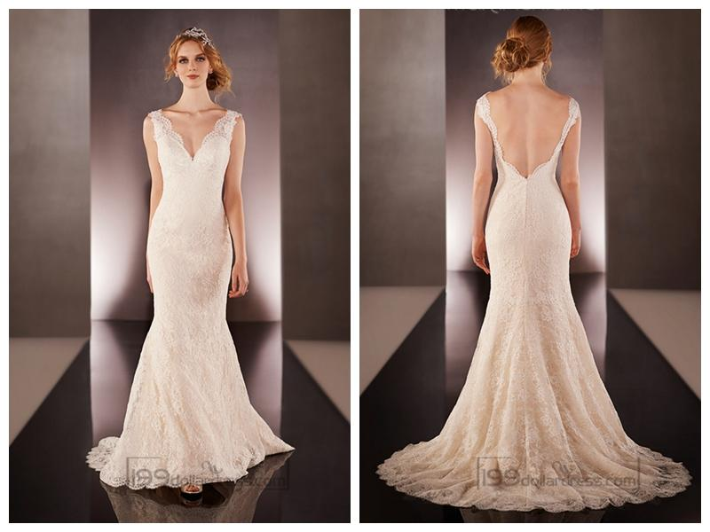 Low V Back Wedding Dresses : Wedding lace straps v neck dresses with low back