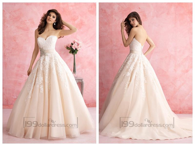Свадьба - Strapless Sweetheart A-line Lace Ball Gown Wedding Dress