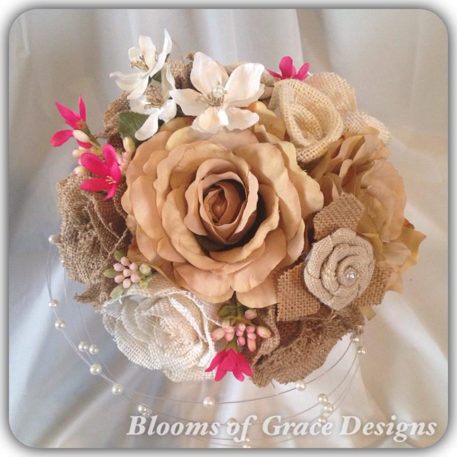 Свадьба - Burlap handmade bouquet set NEW ITEM !!