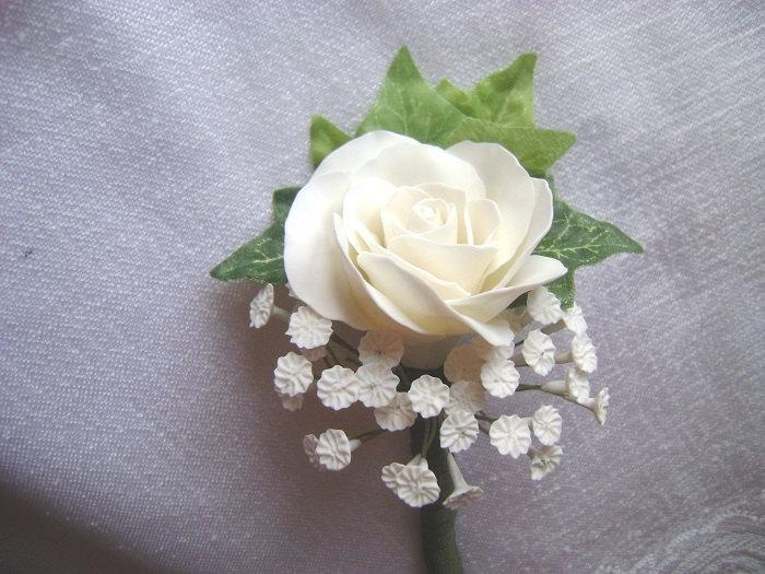 Свадьба - White Rose Wedding Boutonniere. Groomsmen