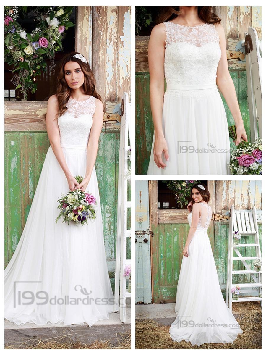 Hochzeit - Luxury Illusion Neckline Lace Bodice Wedding Dress