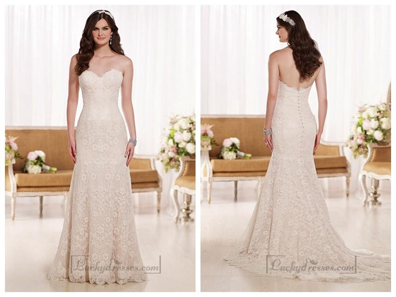 Свадьба - Strapless Sweetheart A-line Lace Appliques Wedding Dresses