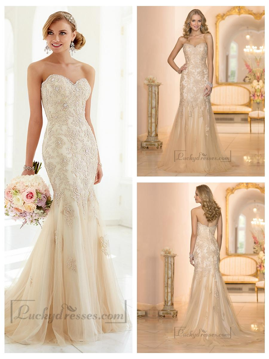 Wedding - Elegant Fit and Flare Beaded Sweetheart Lace Appliques Wedding Dresses