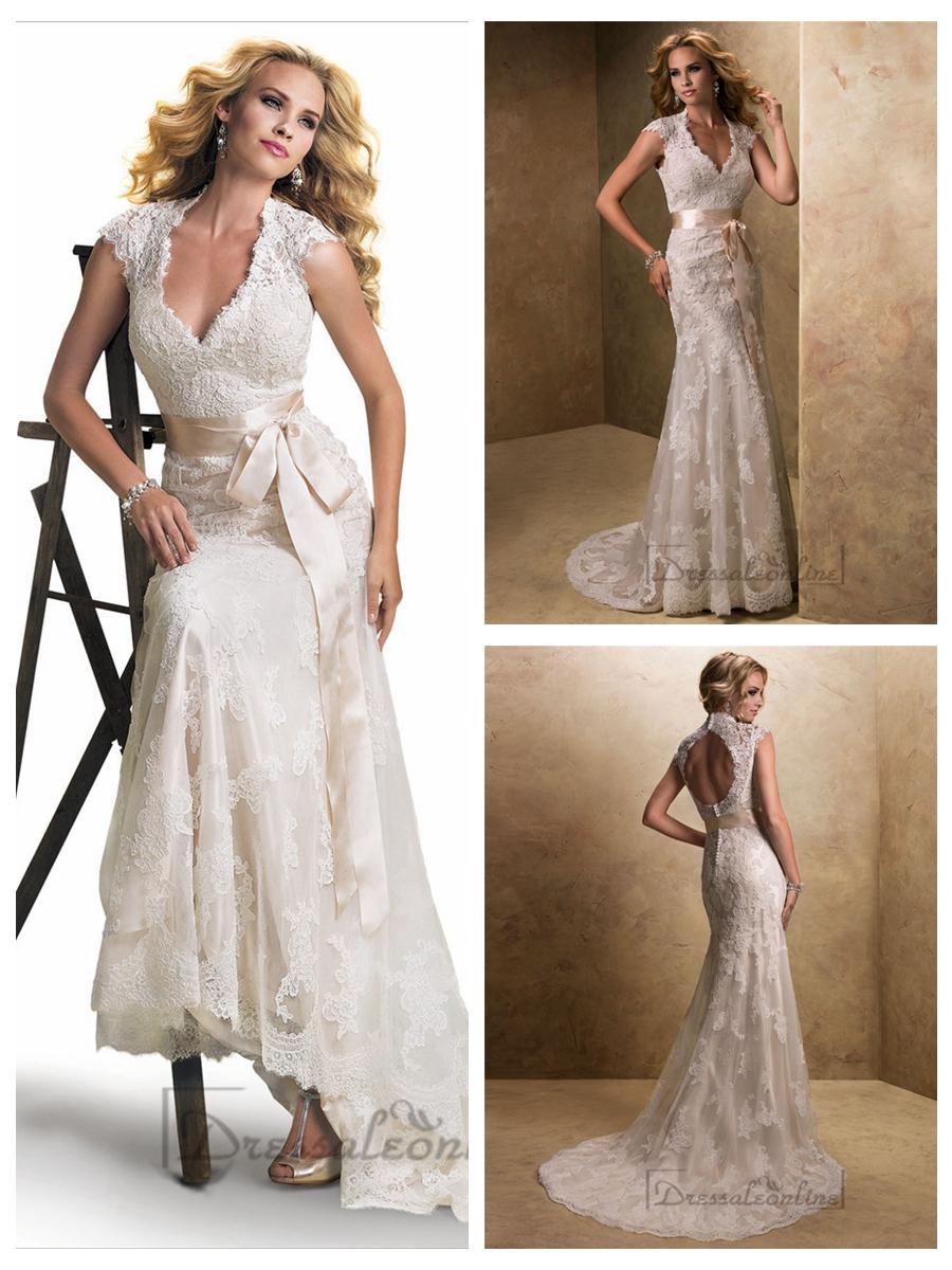 Slim cap sleeves v neck lace open back wedding dresses for Cap sleeve open back wedding dress