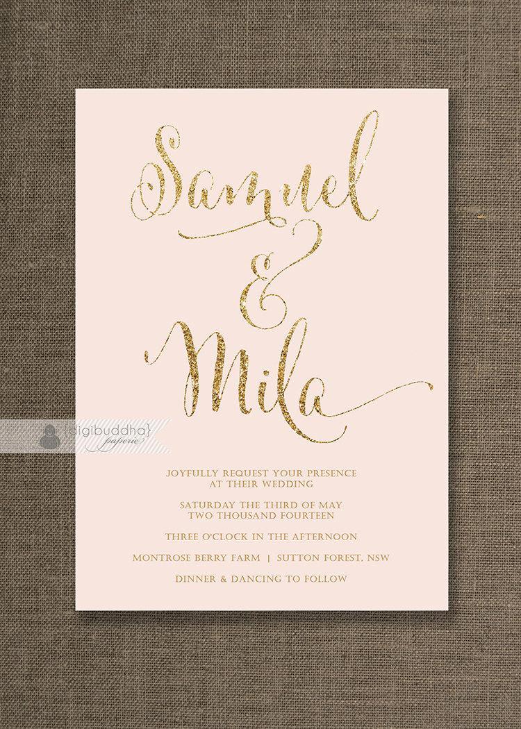 Blush Pink Gold Wedding Invitation Gold Glitter Modern Script – Gold and Pink Wedding Invitations