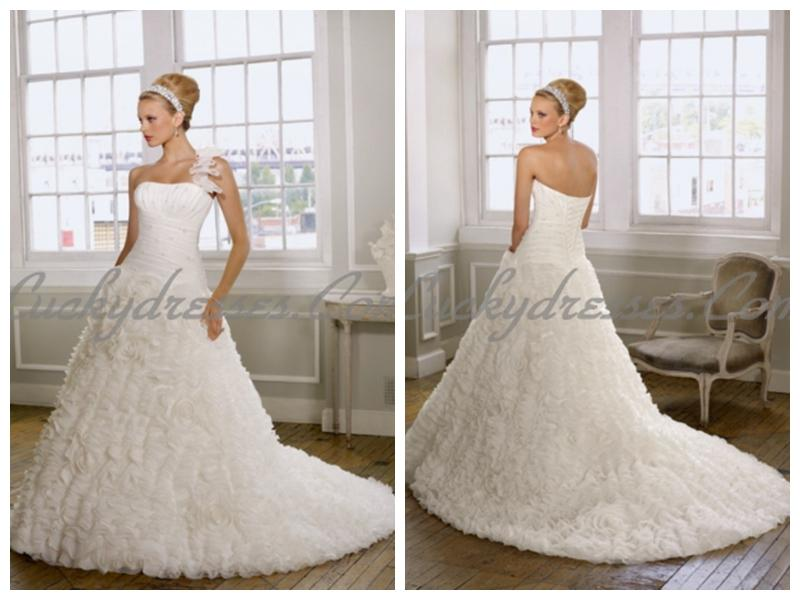 Boda - organza rouched beaded bodice with a line luxury ruffles lace up back wedding dresses
