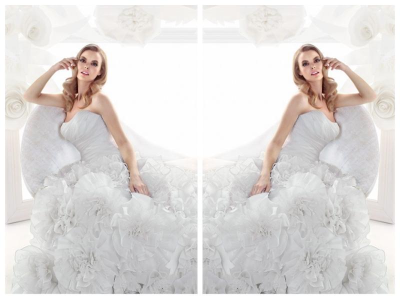 Wedding - Asymmetrical Pleated Bodice A-Line Luxurious Skirt Lucky Wedding Dress