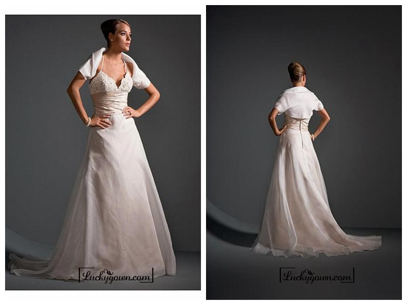 Mariage - Beautiful Elegant Exquisite Wedding Dress In Great Handwork