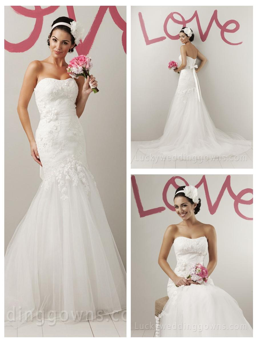 Wedding - Timeless Strapless Summer Wedding Dress Tulle Skirt with Appliques
