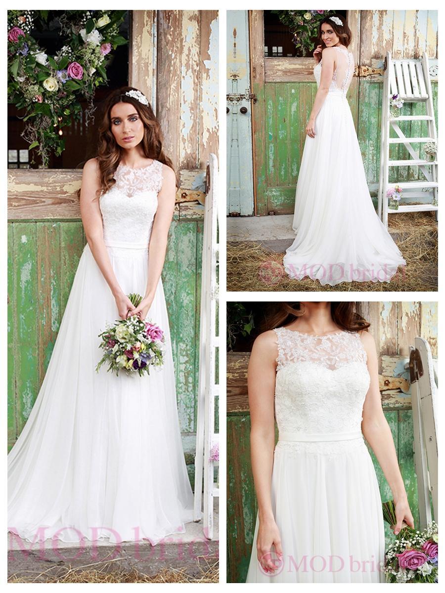 Mariage - Luxury Illusion Neckline Lace Bodice Wedding Dress
