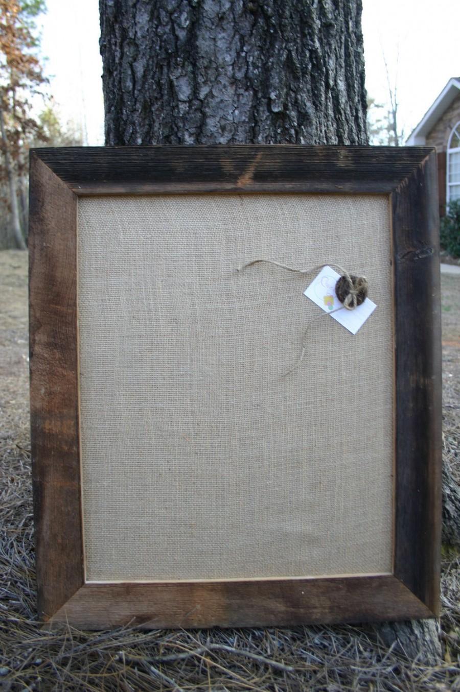 """Hochzeit - 22x26"""" Beautiful Barn Wood Frame with burlap Cork Board"""