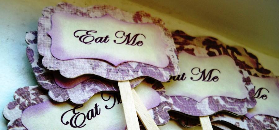 "Wedding - Purple Damask ""Eat Me"" Cupcake Toppers (Set of 12)"