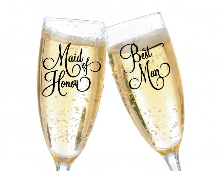 Maid Of Honor Best Man Flirty Script Vinyl Wedding Party