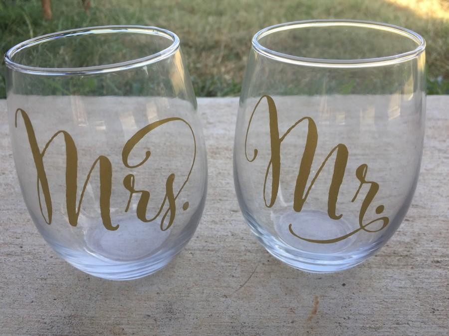 Mr And Mrs Stemless Wine Glasses Wedding Wine Glasses