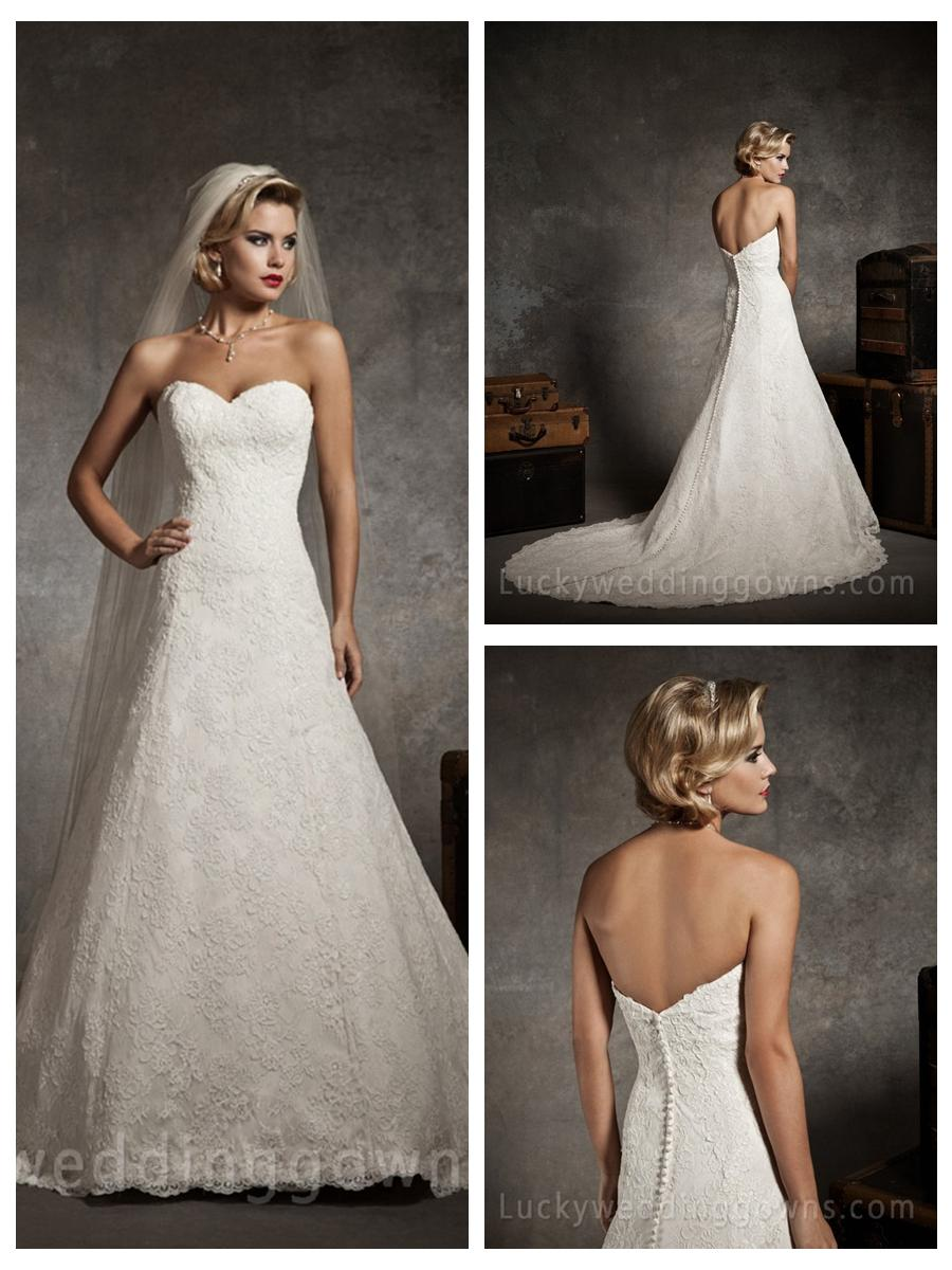 Strapless sweetheart lace a line wedding dress with chapel for Sweetheart strapless a line wedding dress