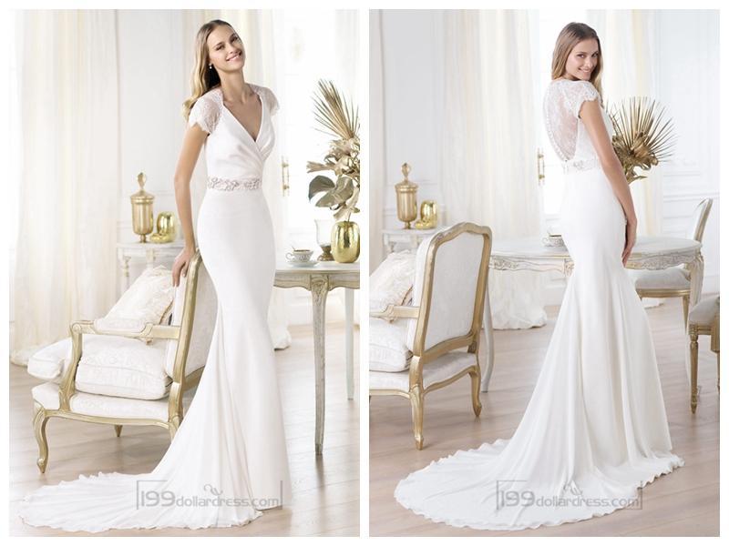Свадьба - Elegant Short Sleeves Plunging V-neck Mermaid Illusion Back Wedding Dresses Featuring Crystal
