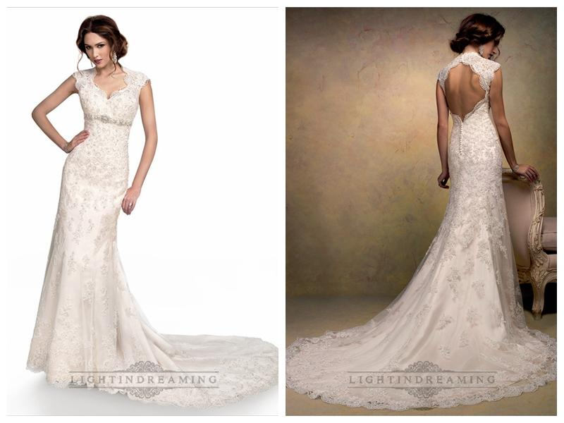 Cap sleeves sweetheart scalloped neckline beaded lace for Lace cap sleeve keyhole back wedding dress