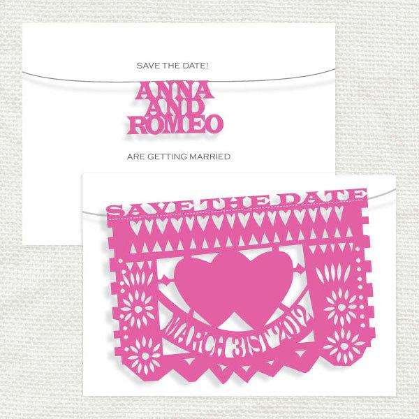 Mariage - fiesta wedding save the date - printable file - mexican papel picado flags bunting mexico cut paper folksy