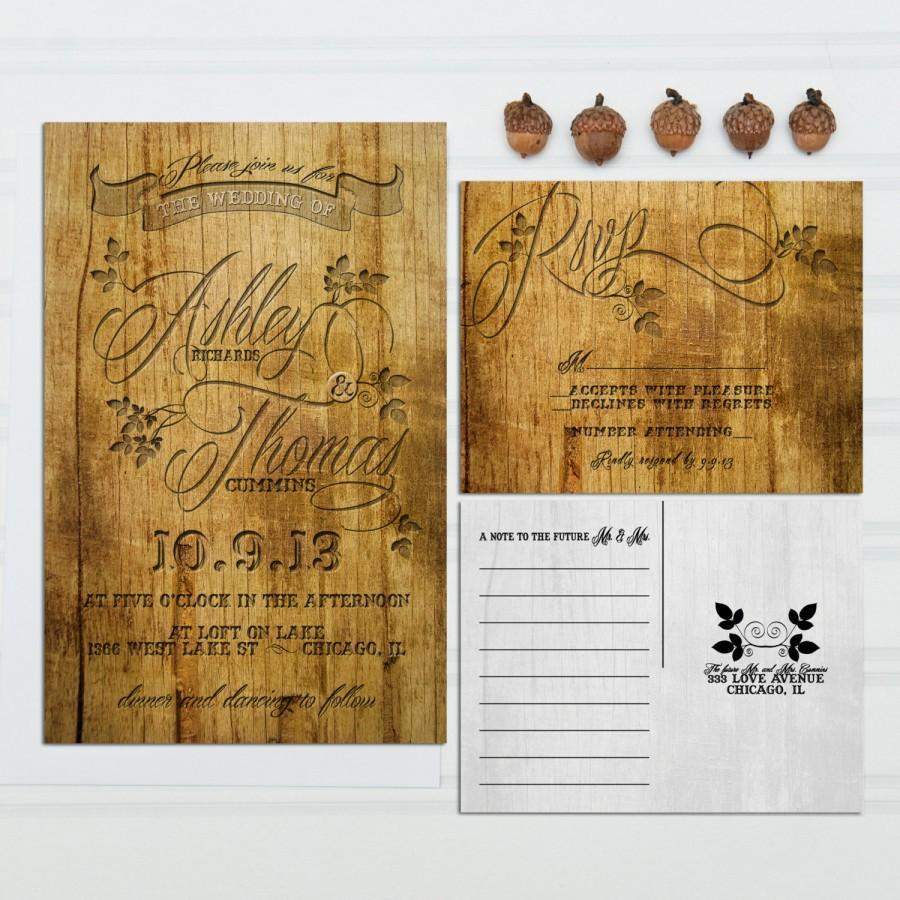 Carved Wood Look Wedding Invitations, Budget Invitation, Invitation ...