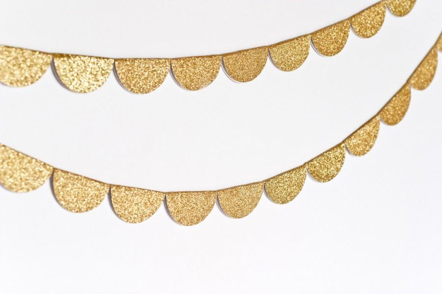 Свадьба - Scalloped Glitter Garland (Gold)- MADE TO ORDER