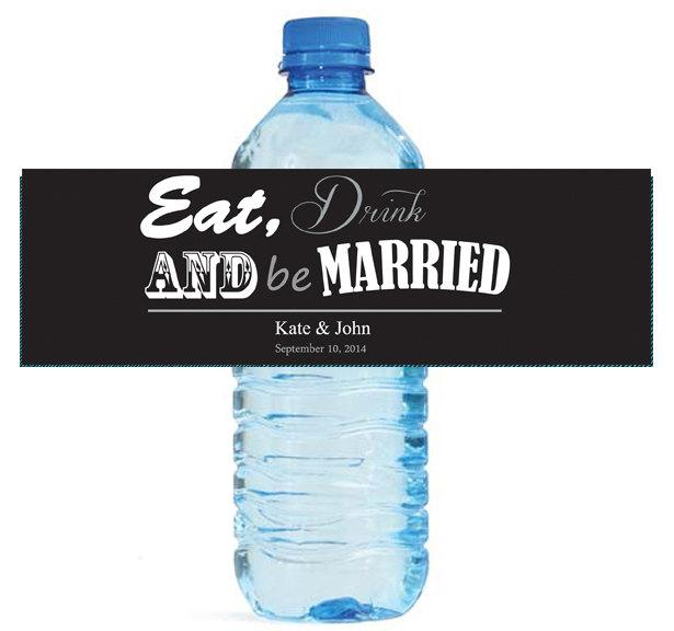 Hochzeit - Contemporary Wedding Water Bottle Labels Great for Engagement Bridal Shower Party 2 sizes available