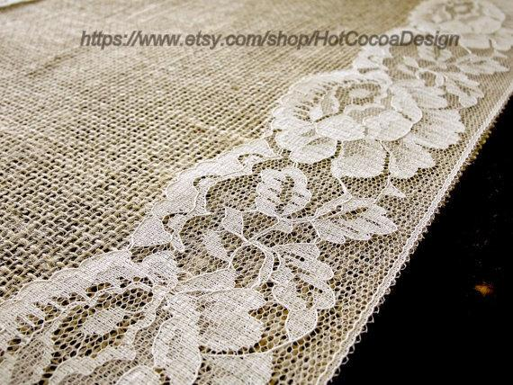 Hochzeit - burlap and lace wedding table runner lace table runner rustic wedding table linens bridal shower party, handmade in the USA