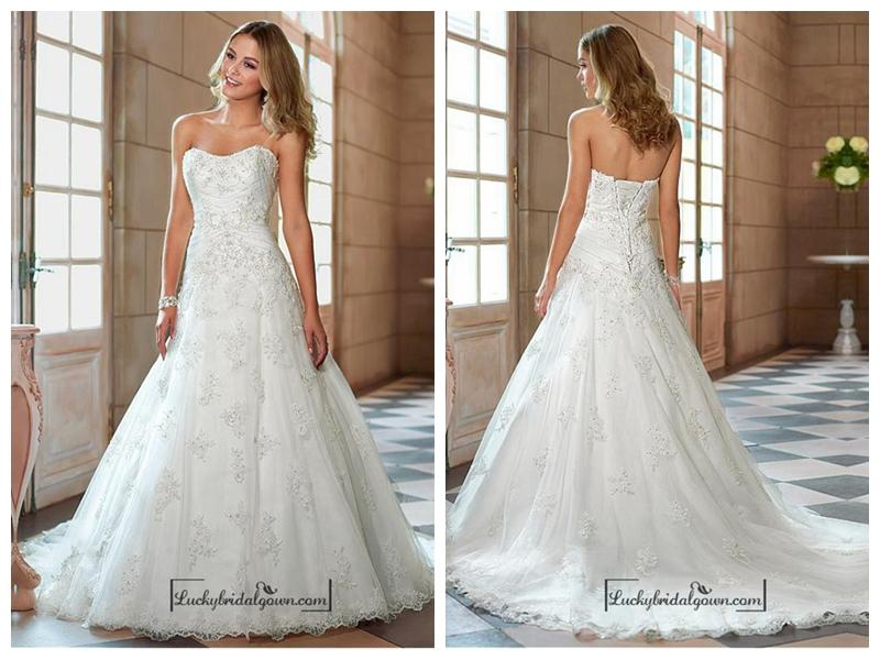 Mariage - Alluring Tulle Sweetheart Neckline Natural Waistline A-line Wedding Dress