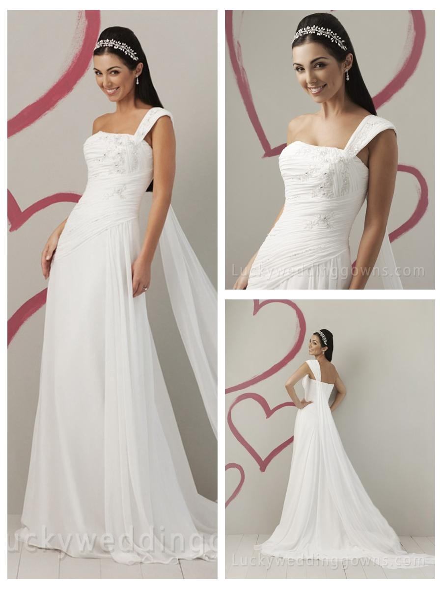 Wedding - Summer Chiffon One Shoulder Beaded Appliques Wedding Dress