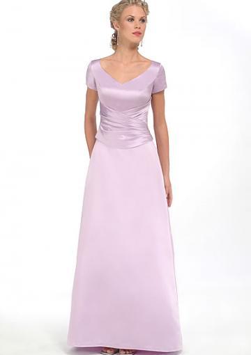 Wedding - 2015 Ruched Lilac Satin V-neck Short Sleeves Floor Length