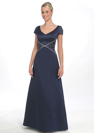 Mariage - 2015 Satin Short Sleeves Floor Length Beading V-neck Navy