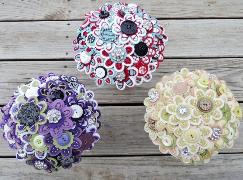 Свадьба - Custom Color Bridal Felt Button Bouquet