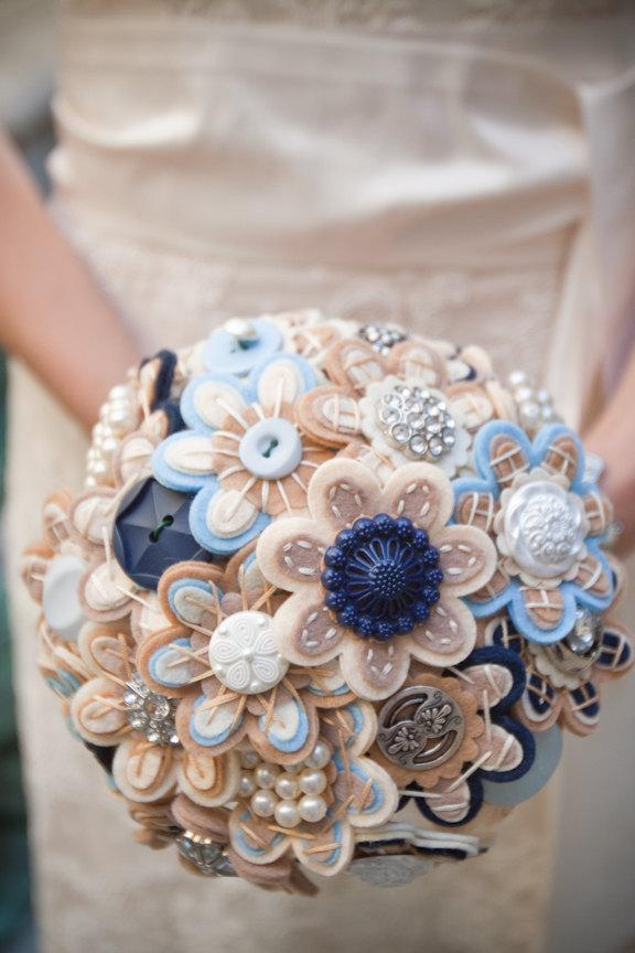Hochzeit - Custom Color Bridal Button Bouquet
