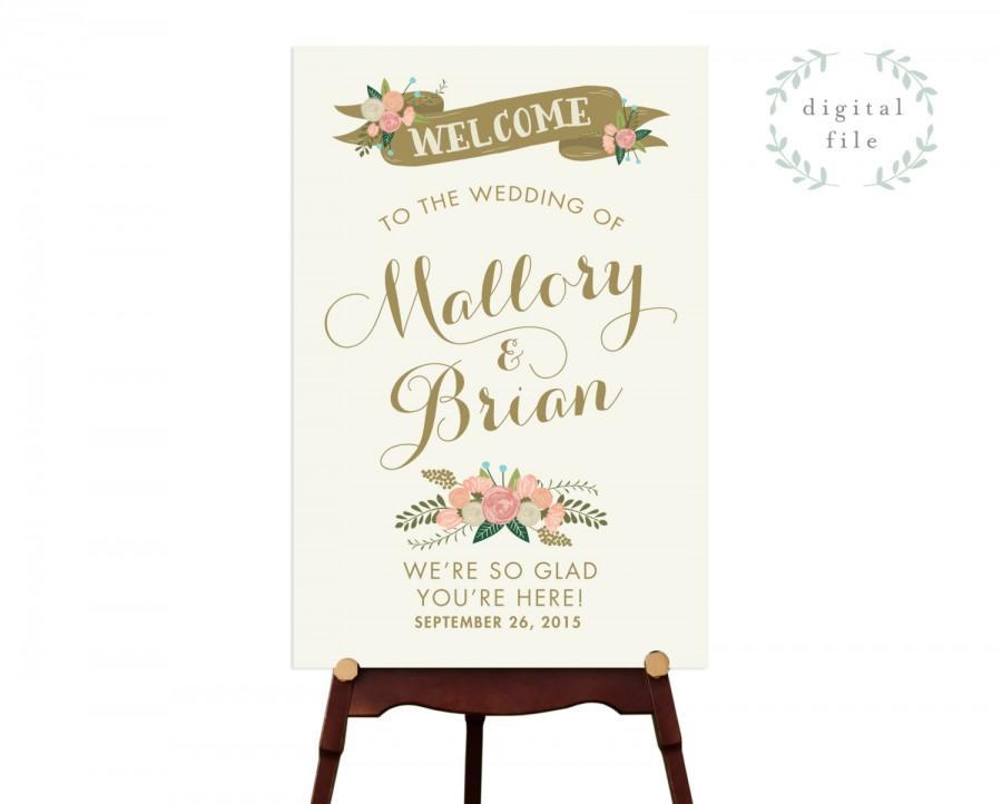 Свадьба - PRINTABLE  Large Welcome Wedding Sign // Welcome Sign // Vintage Wedding Sign // Reception Sign // Summer Wedding // DIGITAL