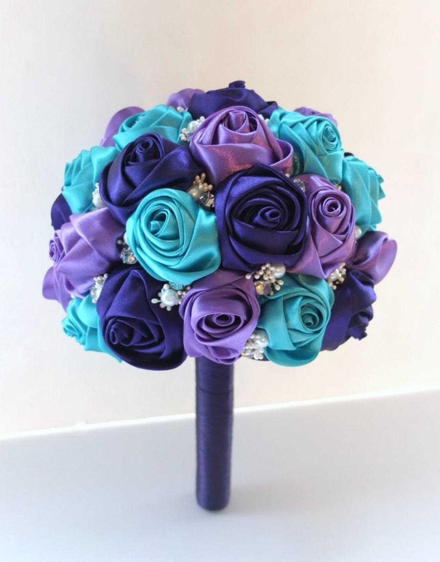 Свадьба - Fabric Bouquet, Satin Rose Bouquet, Peacock Bouquet,  Purple & Teal Satin Rose accented with rhinestone (Medium,  7 inch)