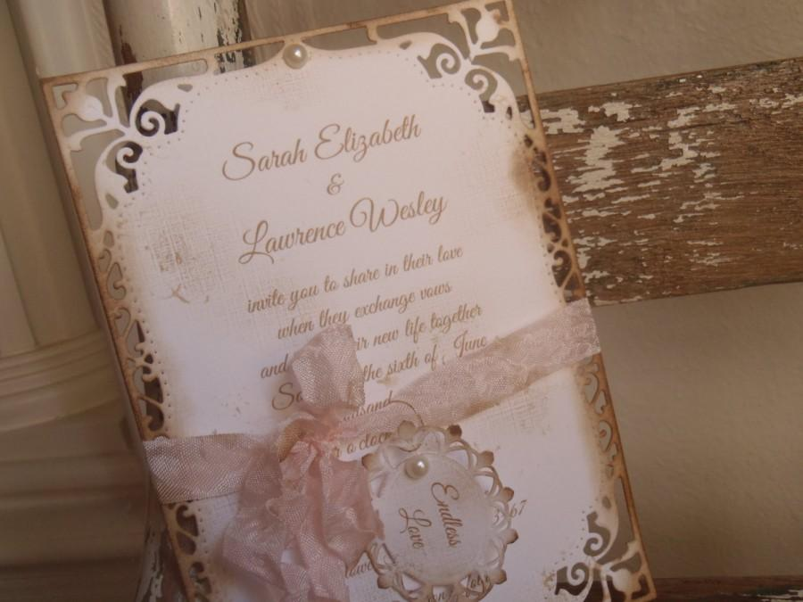 Свадьба - Blush Pink, Romantic Victorian Wedding Invitation Crinkled Ribbon, Pearls, Shabby, Cottage, Garden, Farmhouse