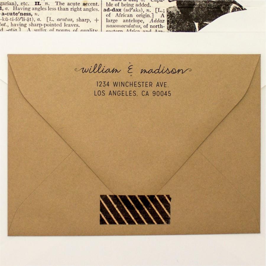 Свадьба - Custom Address Stamp - Cursive Pen Self Inking Return Address Stamp