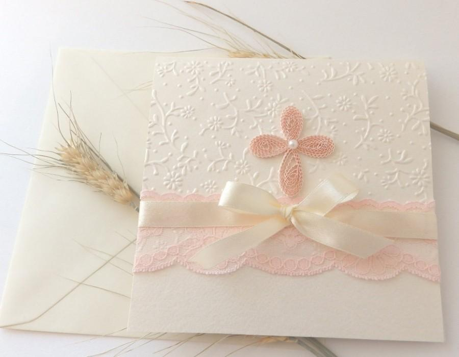 Handmade Christening Invitation Baptism Invitation Pink Lace