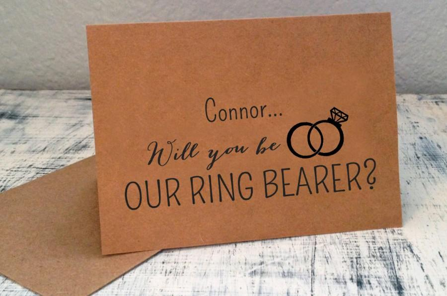 Свадьба - 1 Will You Be Our Ring Bearer card - personalized with ring bearer name in front and wedding date on back