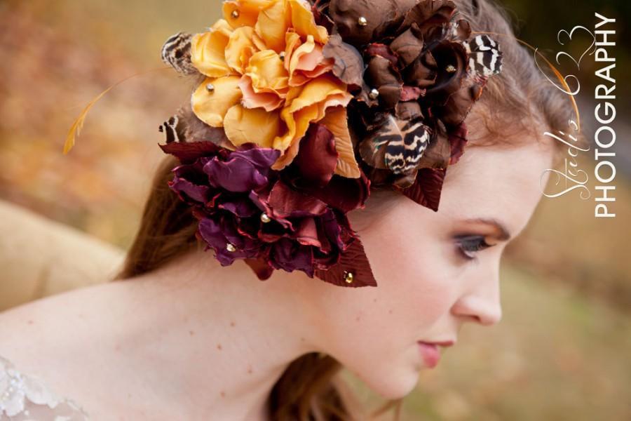 زفاف - Autumn Elegance-Silk Floral trio-whimsical feathers and gold beads Hairpiece or Bridal Sash flower-CRBoggs Designs Original