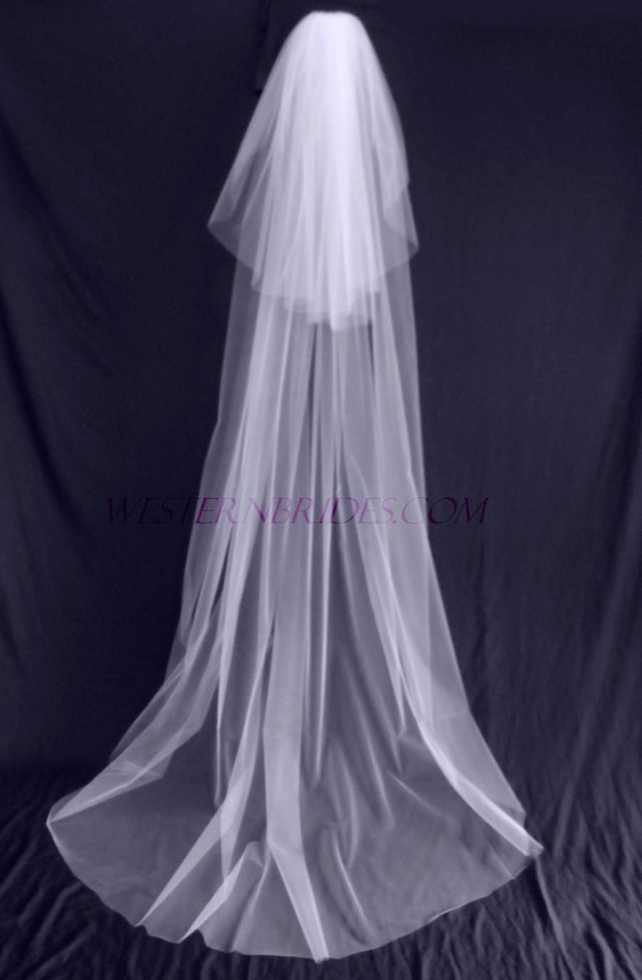 Wedding 2 TIER CHAPEL Floor Length Veil With Blusher Veil. White, Ivory,  Diamond White. Ready To Wear On Silver Comb